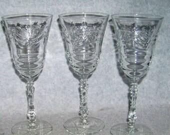 3 Libbey Rock Sharpe Arctic Rose Cut #3005 Water Glass / Goblet