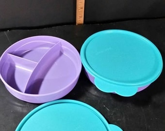 Vintage tupperware divided  bowls with lids.