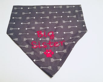 Big Sister, Dog Bandana, Gender Reveal, pregnancy reveal, Over the Collar, Dog Lovers Gift, Birthday Present, Photo Shoot, pet neckwear