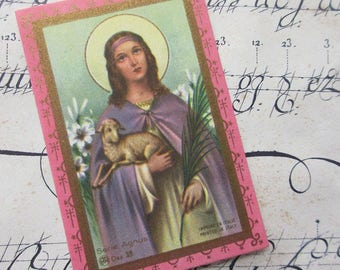 1920s Italy Vintage Gilded Prayer Cards Mary And Lamb ~ Set of 5