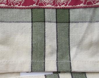 Mushroom Trim Retro Kitchen Cotton Tea Towel Ivory With Green Stripes