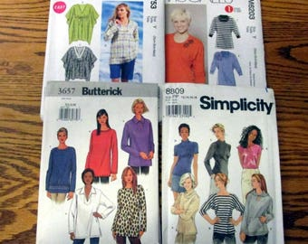 Wintery Tops and Tunic Sewing Patterns, sizes 4 to 18 & XS to XL - UNCUT
