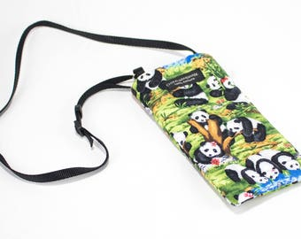 Panda Play fabric Eyeglass Reader Case -with adjustable neck strap lanyard