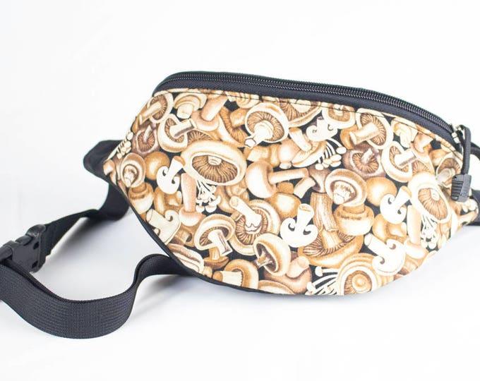 Fanny pack Mushroom fabric - Cute  - Hip Waist Bag - 2 Zippers
