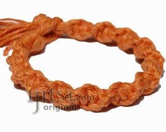Pumpkin wide twisted hemp bracelet or anklet