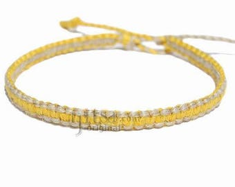 Yellow and natural thin flat hemp surfer bracelet or anklet