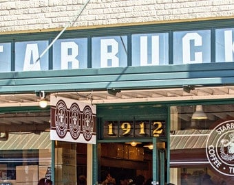 Seattle Photography, The First Starbucks Print, Pike Place Coffee Shop Photo, Seattle Memorabilia