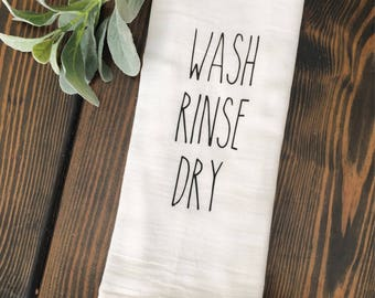 Wash Rinse Dry Rae Dunn Inspired Coffee Bar Drink Station Tea Towel Flour Sack Brew Funny Coffee Love Farmhouse