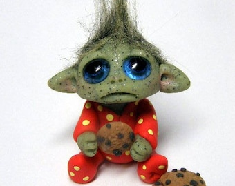 "OOAK Tiny Baby Goblin Trollfling Troll ""Westley"" in footie pajamas with cookies by Amber Matthies"