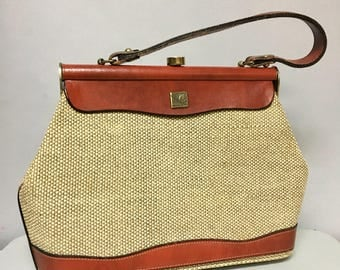 Italian 60s Vintage LEATHER Purse, Taupe Jute & Leather KELLY HandBag, with HORSE Emblem