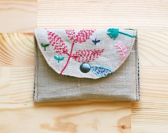 Botanical wallet, credit cards holder, cards case, coin purse, mp3 case, hand painted embroidered linen - OOAK