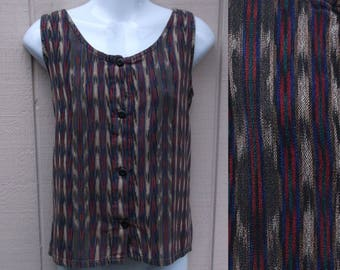 Vintage Guatemalan Handwoven sleeveless Blouse - top with ikat design / Black stripe Cotton / Sz Sml - Med