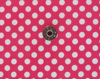 FAT EIGHTH Hot Pink Fabric with Large Polka Dots | Small cut of pink polka dot fabric for patchwork, small accessories, doll clothes, etc.