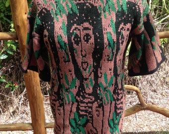 Cotton or cotton/cashmere sweater with three ladies and leaves pattern, choice of cotton or cotton cash mix, OOAK clothing, S/M oversize