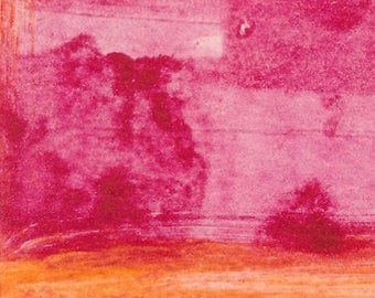 Original Abstract Art print Tiny Series 2017 #2 magenta cadmium yellow affordable art monoprint abstracted landscape