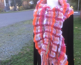 Pinky, a Narrow Wrap in pinks, handwoven and felted by me