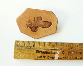 Eagle Hand Tooled Stamped Leather Pin