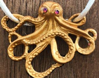 Necklace Storm the Octopus Pendant in Metallic Gold  Handpainted
