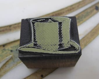 Vintage Letterpress Printing Block Top Hat