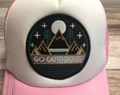 """Toddler/Kids Girl's Trucker Hat- pink with """"Go..."""