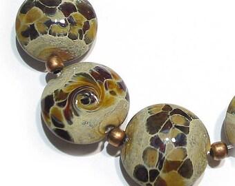 SRA  Handmade Glass Lampwork  Beads, Woodshed Lentils