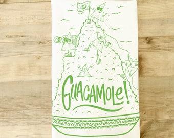 Guacamole tea towel - kitchen towel - Avocado  -Mexican theme gift basket - funny kitchen towel - southwest theme - cute characters - guac