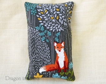Fox Pocket Tissue Holder for Bag - Gray Cotton Fabric Accessory, Small Tissue Cover for Purse, forest animals, facial tissue case, trees