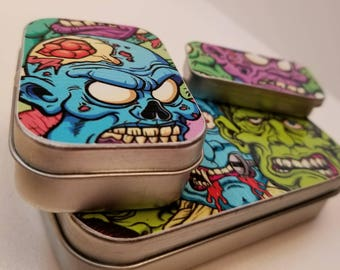 Small, Medium, and Large tin trio . . . Zombie brights