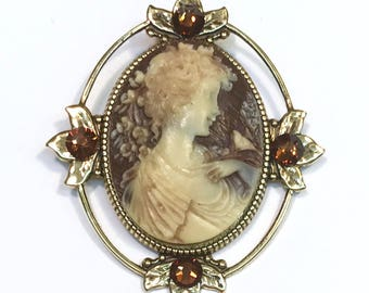 Cameo Brooch or Pendant  Brown and Creme Victorian Lady Profile with Crystal Accents