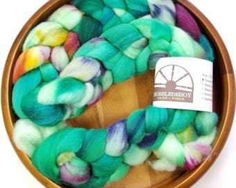 Utopia - hand-dyed Polwarth wool and silk (4 oz.) combed top roving