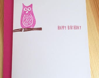 Pink Owl Happy Birthday Card - Bird Birthday Card - Hoot Owl Birthday Card - Hand Printed Owl Birthday Card