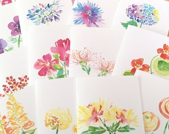3 Watercolor Floral Note Cards - Blank Folded Botanical Note Cards - Floral Watercolor Variety Card Set - You Choose 3 Designs