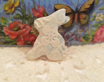 Easter Bunny Pin, Cute Blue and White Bunny Brooch, Bunny Flower Pin, Floral Jewelry, whimsical polymer clay