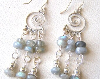 Labradorite Chandelier Earrings, Blue Green Flash, Sterling Silver and Natural Gemstones, Fancy Stone Earrings, One of a Kind Gift for Her