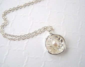 Dainty Sterling Silver Disc Pendant, Concave Disc with White Pearl, Silver Chain with Round Pendant, Destination Wedding Necklace, Bridal