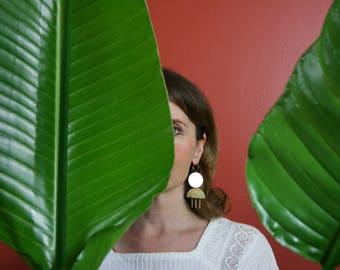 Geometry Earrings, Statement Earrings, Bold Earrings, Gift for Her, Tassel Fringe Earrings, TRIFECTA