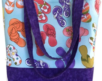 Summer Tote bag, Large handbag, flip flops, market bag, gift for her, pocketbook, gift for Mom, gift for women, Dee's Designs,