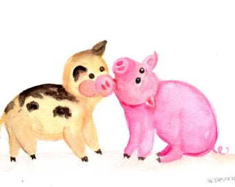 Happy Pigs watercolor painting original, humorous pig art// happy funny pigs