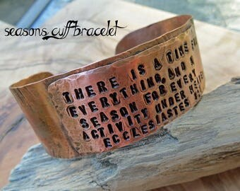 Seasons Cuff Bracelet - Handstamped poem, fire-painted antiqued copper cuff, ready to ship, handwrought metalwork, bohemian, modern rustic