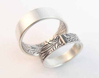 RESERVED Listing -- Sterling Silver and 14k Rose Gold Wedding Ring -- Sunflower Pattern