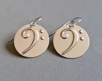 Bass Clef Earrings, Bass Earrings  Music Jewelry, Musician Gift , Baritone, Cello, Bassist, Music Earrings, Music Teacher Gift Bass Jewelry