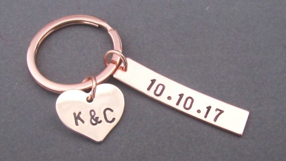 Couples Keychain,2 Two Initials Keychain,Date and Initial Key Chain,Couples Jewelry,Heart Charm Keychain,Anniversary Gift, Free Shipping USA