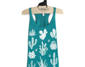 Medium- Tri-Blend Teal Racerback Tank with Cactus Screen Print