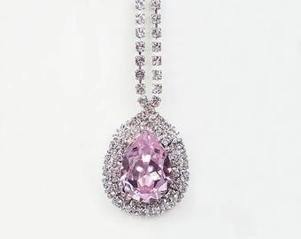 SUMMER SALE Rosaline Pink Rhinestone Necklace Swarovski Pink Wedding Jewelry Bridesmaid Jewelry MADE To Order