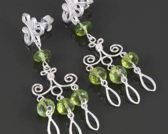 Genuine Peridot Chandelier Earrings. Sterling Silver. August Birthstone. Big Earrings. Lightweight Earrings. f17e004