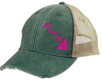 Distressed Snapback Trucker Hat -  Hawaii off-center state pride hat - Many Colors available