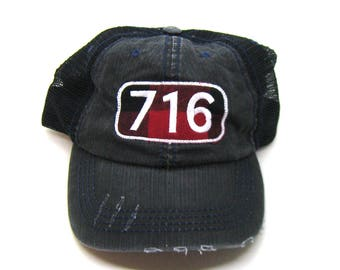 Clearance - Sale - Gift - Gracie Designs Hat - 716 New York Area Code Buffalo Check Patch on Black Distressed Trucker