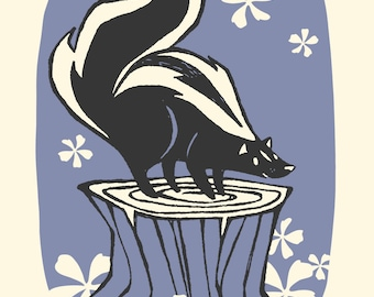 Skunk - Screenprinted Art Print