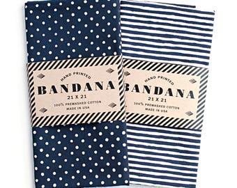 Dot and Stripe Navy Bandanas, Hand Screen Printed and Soft