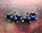 Matte Lapis Lazuli Bead Charms - 1 pair - 13mm in length